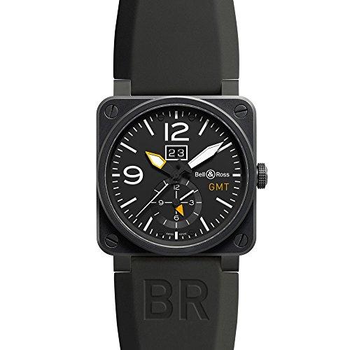 Bell und Ross Luftfahrt Schwarz Zifferblatt Schwarz Gummi Herren Armbanduhr br0351 gmt cb
