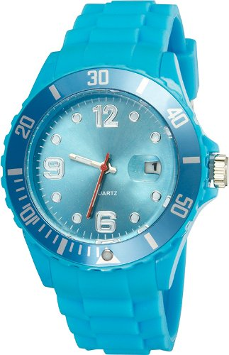 Crazy Jelly Watch mit Datum hellblau Ice Design Unisex Silikon Uhr ca 43mm