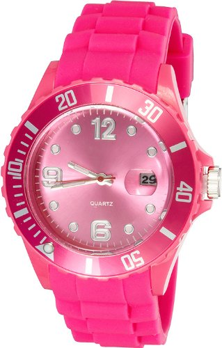 Crazy Jelly Watch mit Datum pink Ice Design Unisex Silikon Uhr ca 43mm