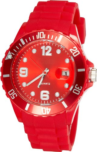 Crazy Jelly Watch mit Datum rot Ice Design Unisex Silikon Uhr ca 43mm