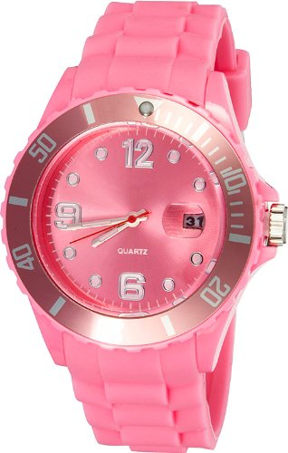 Crazy Jelly Watch mit Datum rosa Ice Design Unisex Silikon Uhr ca 43mm