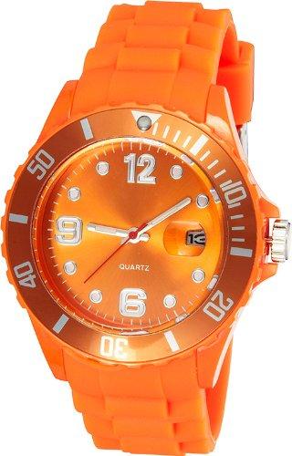 Crazy Jelly Watch mit Datum orange Kids Ice Design Unisex Silikon Uhr ca 39mm