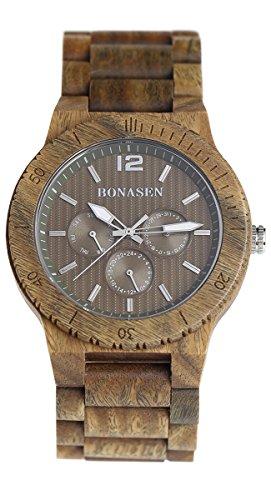 BS Handgefertigte leichte hoelzerne Armbanduhr Luxus gruenes Sandelholz mit Tagesdatum Funktion Eine Geschenkidee BNS 160F