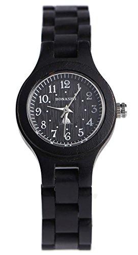 BS Handgefertigte hoelzerne Armbanduhr Japanische Quarzerk mit natuerlichen roten Sandelholz gemacht BNS 120B