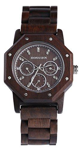 BS Retro handgefertigte hoelzerne Armbanduhr Analog Quarzwerk Tag Datum Funktion mit Naturholz BNS 180A