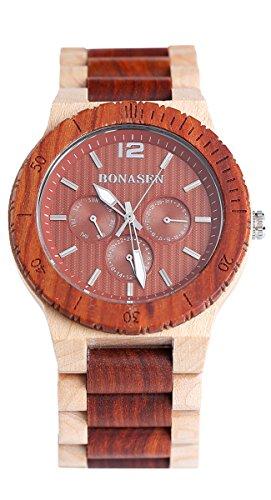 BS Handgefertigte Mode Wooden Armbanduhr Wasserbestaendigkeit Red Sandelholz und Ahorn mit Tag Datum Funktion BNS 160D