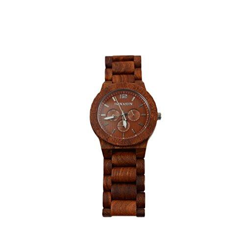 BS Handgefertigte Herren Wooden Watch Day Date Funktion aus natuerlichem Sandelholz