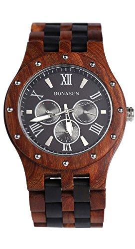 BS Handgefertigte Leichte Wooden Watch Day Datum Kalender Funktion Quarzwerk Made mit Luxus Natural Sandelholz BNS 260B