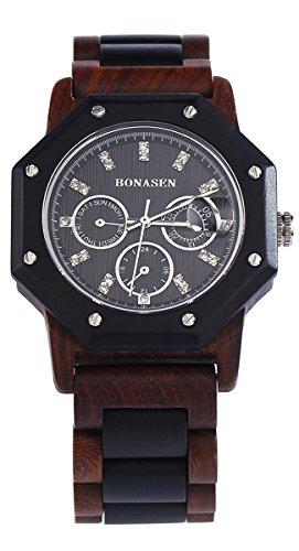 BS handgemachte hoelzerne Armbanduhr Tagesdatum Funktion mit rotem und schwarzem Sandelholz BNS 180B