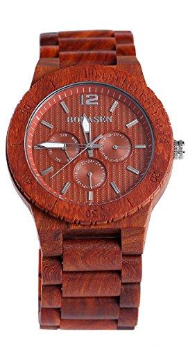 BS Handgefertigte Retro Holz Armbanduhr Natural Red Sandelholz mit Datum Datum Funktion Holz Armband Uhr BNS 160C