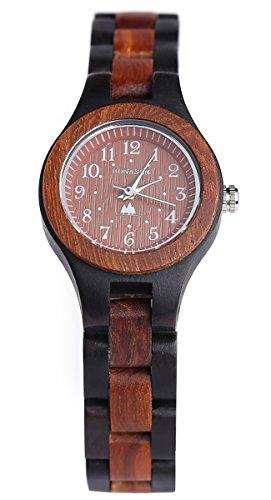 BS Handgefertigte hoelzerne Uhr analoge japanische Quarz Uhr hoelzerne Band Uhr die mit natuerlichem rotem und schwarzem Sandelholz gebildet wird BNS 120C