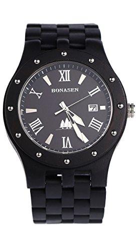 BS Handgefertigte hoelzerne Uhr Quarz Uhr die mit natuerlicher schwarzer Sandelholz Wasserbestaendigkeit gebildet wird BNS 250B