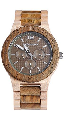 BS Handgemachtes Art und Weisehoelzernes Uhr gruenes Sandelholz und Ahorn mit Tagesdatum Funktions Quarz Uhr Uhr BNS 160E
