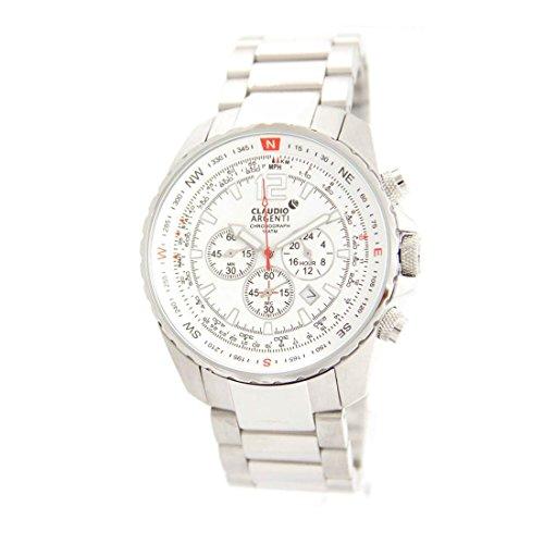 Armbanduhr mit Chrono Armband Stahl Claudio Argenti 828