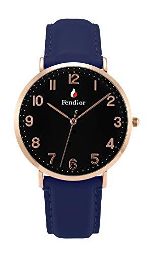 fendior Wasserdicht Herren blau Leder Band einfach zu Lesen Schwarz Face Armbanduhr Quartz