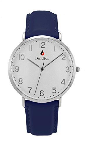 fendior Wasserdicht Herren blau Farbe Leder Band leicht zu lesen Quarz Armbanduhr