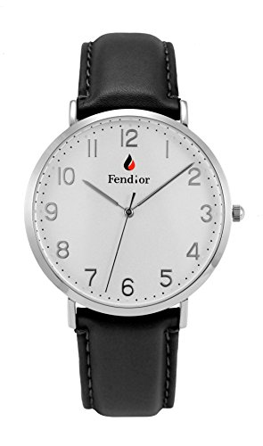 Fendior Waterproof Unisex Black Color Leather Band Thinnest Easy to Read Quartz Wristwatch