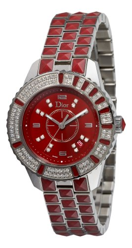 Christian Dior Damen CD11311HM001 Christal Diamant Red Zifferblatt