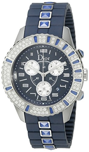 Christian Dior Damen CD11431IR001 Christal Chronograph Diamond Blue Zifferblatt