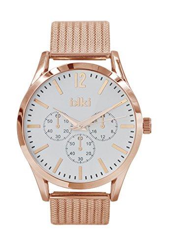 Chronograph Rose gold von Ikki mit Werkzeug zum kuerzen des Armbands Alltags Uhr Abends Uhr Business Uhr