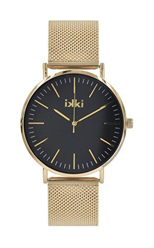 Gold black von Ikki mit Werkzeug zum kuerzen des Armbands Alltags Uhr Abends Uhr Business Uhr