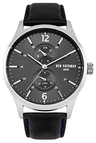 Ben Sherman Herren Armbanduhr mit grauem Zifferblatt Analog Anzeige und schwarz Lederband wb047b