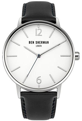 Ben Sherman Herren Armbanduhr mit weissem Zifferblatt Analog Anzeige und zwei Ton Lederband wb059bu