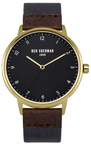 Ben Sherman Herren Armbanduhr mit grauem Zifferblatt Analog Anzeige und Stoff blau Gurt wb049ug