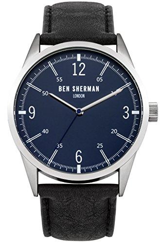 Ben Sherman Herren Armbanduhr mit blauem Zifferblatt Analog Leder Schwarz Gurt wb051ub