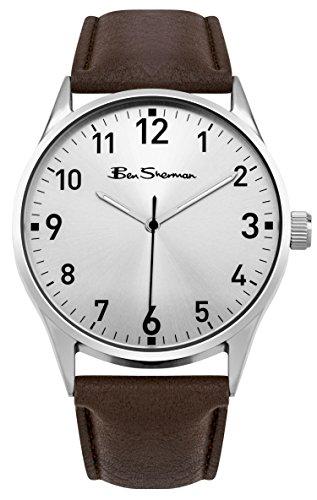 Ben Sherman Herren bs145 Silber Zifferblatt braun Armbanduhr