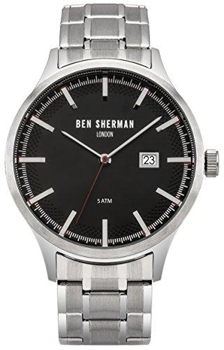 Ben Sherman Herren Quarzuhr mit schwarzem Zifferblatt Analog Anzeige und Silber Edelstahl Armband wb056bsm