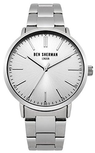 Ben Sherman Herren Quarz Armbanduhr mit Silber Zifferblatt Analog Anzeige und Silber Edelstahl Armband wb061sm