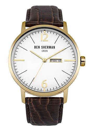 Ben Sherman Herren Quarz Uhr mit weissem Zifferblatt Analog Anzeige und braunem Lederband wb046tg