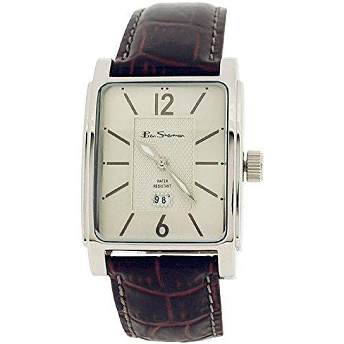 Ben Sherman Uhr gem silber Zifferbl Datum Burgunder Krokoeffektband 857