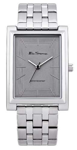 Ben Sherman Herren Armbanduhr mit grauem Zifferblatt Analog-Anzeige und Silber Edelstahl Armband BS003