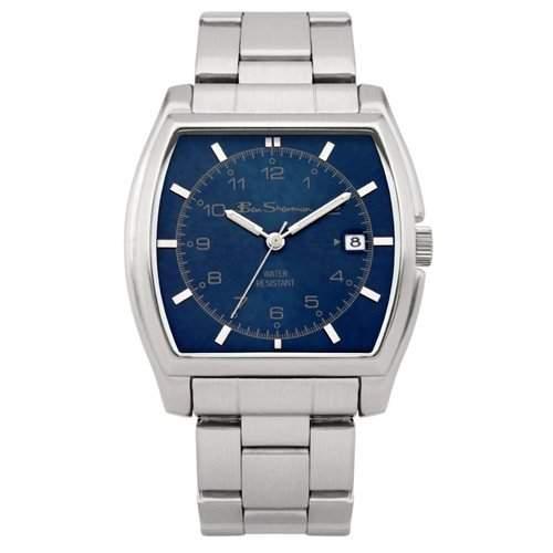 BEN SHERMAN Analoge Herren Armbanduhr mit blauem Ziffernblatt und silberfarbenem Armband R872