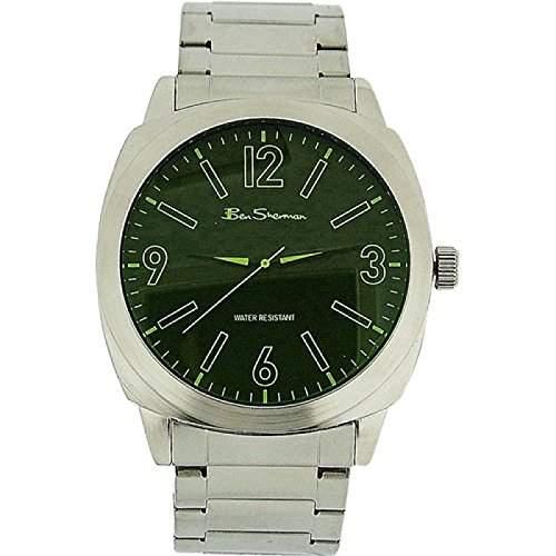 BEN SHERMAN Analoge Herren Armbanduhr mit gruenem Ziffernblatt und silberfarbenem Metallarmband R904