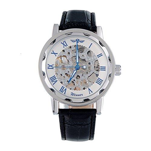 kiwitata Herren Armbanduhr Weiss Skelett Analog Hand Wind Steampunk Handaufzugwerk Uhr