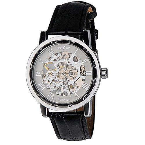 kiwitata Winner Handaufzugwerk mechanische Uhr Weiss Skelett Analog schwarz Leder armbanduhr
