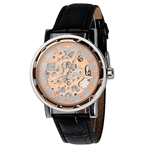 kiwitata Klassisch Damen Unisex Rose Gold Skelett Analog Handaufzugwerk Armbanduhr