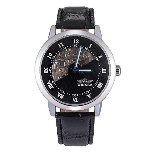 kiwitata Klassisch Herren Hand wind Armbanduhr Uhr Schwarz Semi Skelett Analog Black Pu Leder Band Armbanduhr
