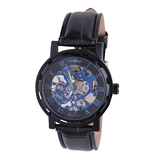 kiwitata Winner mechanische uhr Hohl Hand Wind Armbanduhr Business Black Skelett Leder Classic Handgelenk Steampunk