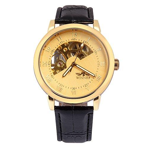 kiwitata Gold Farbe Semi Skelett Zifferblatt mechanisch aufziehbar Bewegung Lederband Armbanduhr Hand Wind