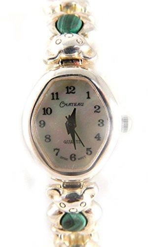 Chateau Silber gekennzeichnet echtem matt Malachit Steine echt Perlmutt Zifferblatt Armband Armbanduhr