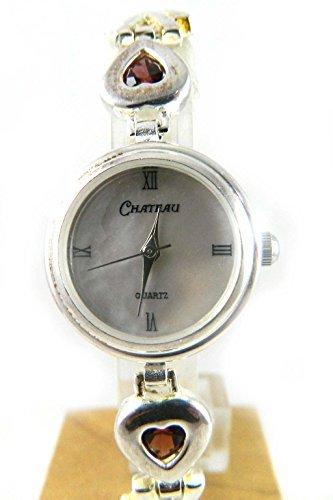 Pretty Sterling Silber gekennzeichnet Echter Granat Geburtsstein Januar Valentine Herz Damen Armband Armbanduhr