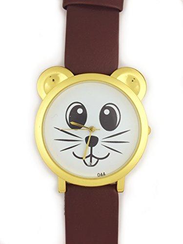 UK Analog Cute Maus Face Armbanduhr mit Gold Ohren und brauner Riemen Baer Katze Hamster Rat Degu