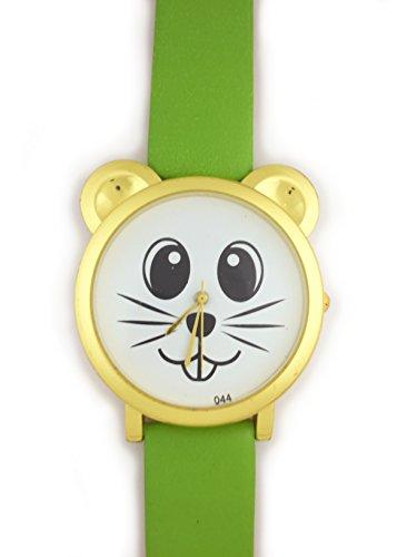 UK Analog Cute Maus Face Armbanduhr mit Gold Ohren und Gruen Gurt Baer Katze Hamster Rat Degu