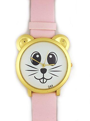 UK Analog Cute Maus Face Armbanduhr mit Gold Ohren und Rosa Gurt Baer Katze Hamster Rat Degu