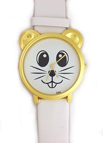 UK Analog Cute Maus Face Armbanduhr mit Gold Ohren und weiss Gurt Baer Katze Hamster Rat Degu