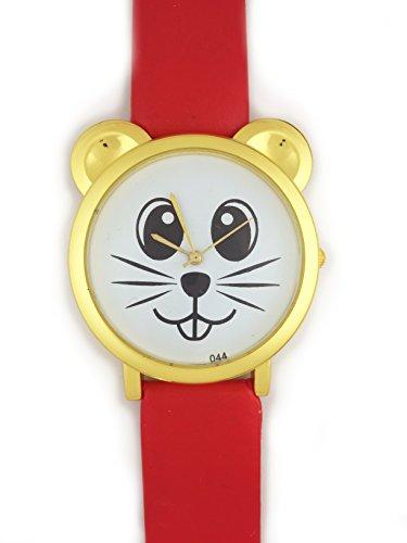 UK Analog Cute Maus Face Armbanduhr mit Gold Ohren und rot Gurt Baer Katze Hamster Rat Degu